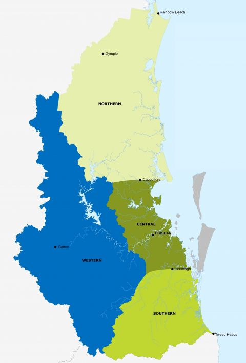 Map of the Energex network in South East Queensland