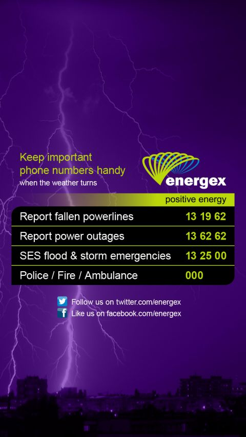Wallpaper 3: Lightning strikes with Energex important numbers. CLICK OR TAP HERE TO DOWNLOAD.