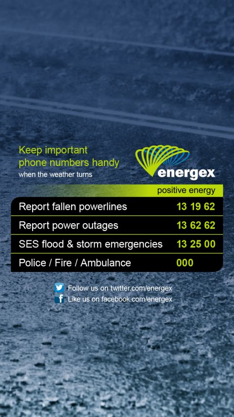 Wallpaper 5: Heavy rain with Energex important phone numbers. CLICK OR TAP HERE TO DOWNLOAD.