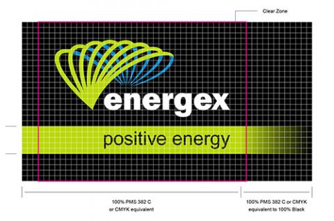 A construction guide on the clear zone when using the Energex logo.
